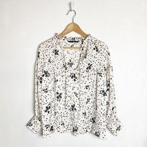 Zara long sleeve oversized floral top